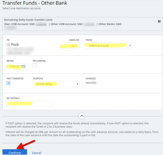 UOB - Transfer Fund - Other Bank - Account - Details