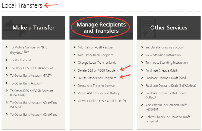 Select to delete POSB/DBS or other bank recipient