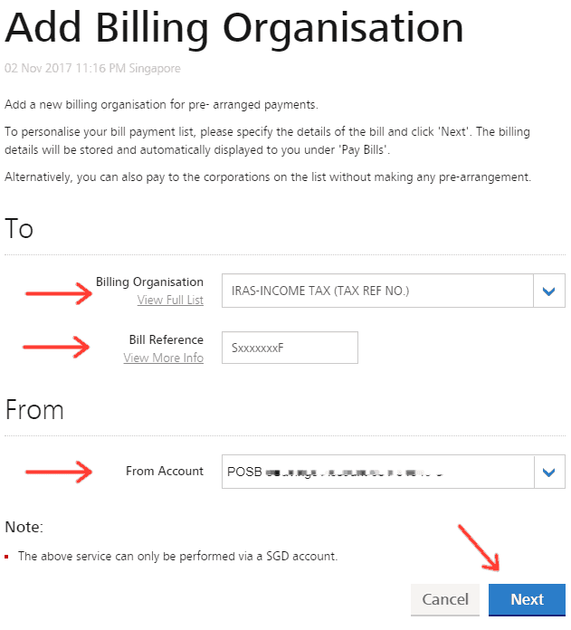 Add Billing Organisation page