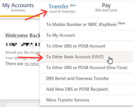 Transfer - to other bank account