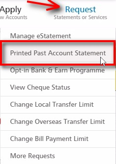 Printed Past Account Statement;Go to