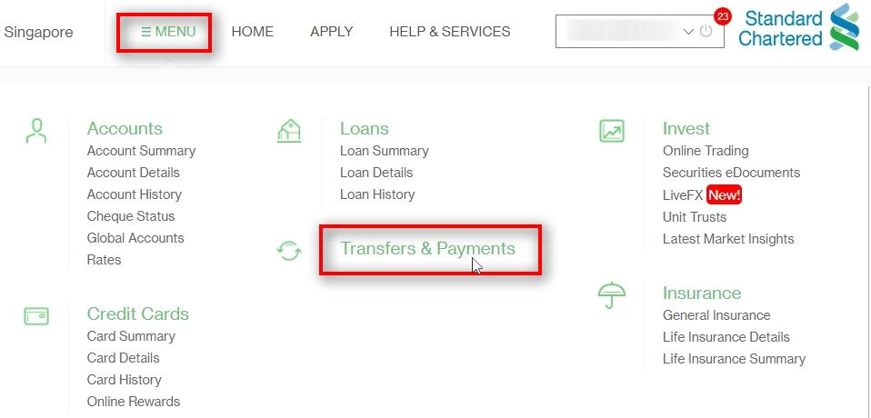 Click on Tansfers & Payments Go to Menu Click on Transfers & Payments
