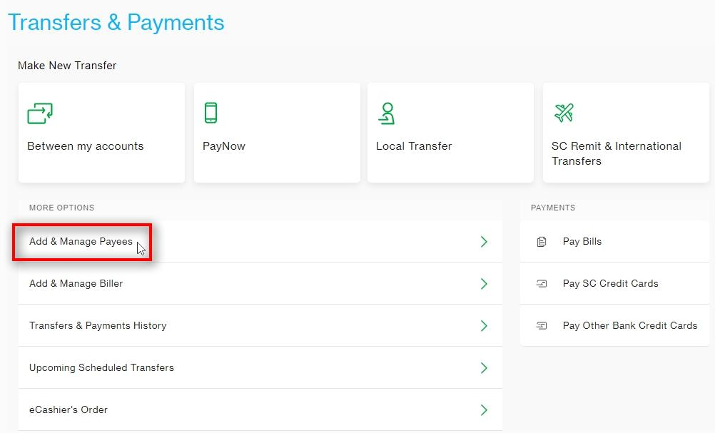 Click on Add & Manage Payees