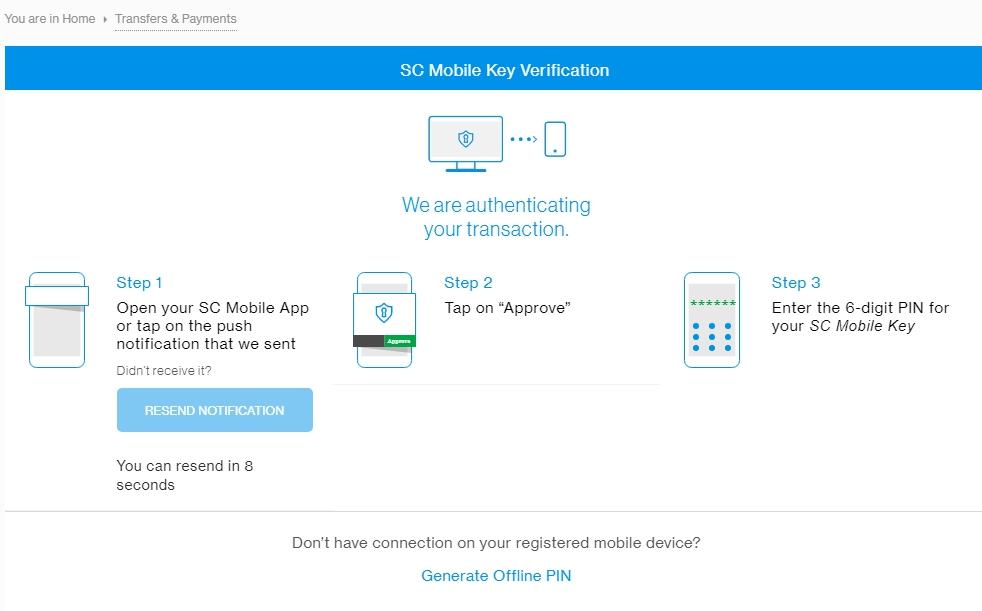 SC Mobile Key Verification Enter the 6-digit PIN for verification