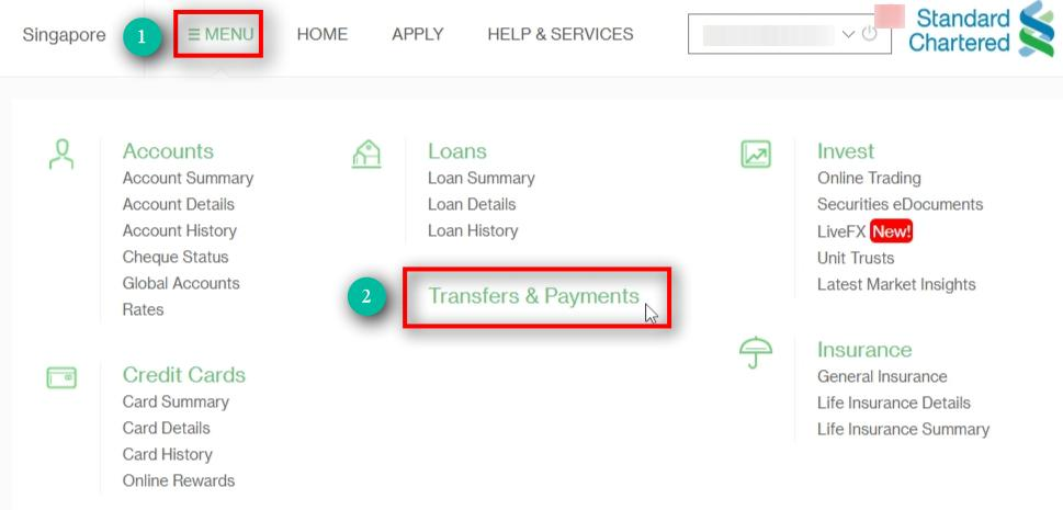 Click on Transfers & Payments