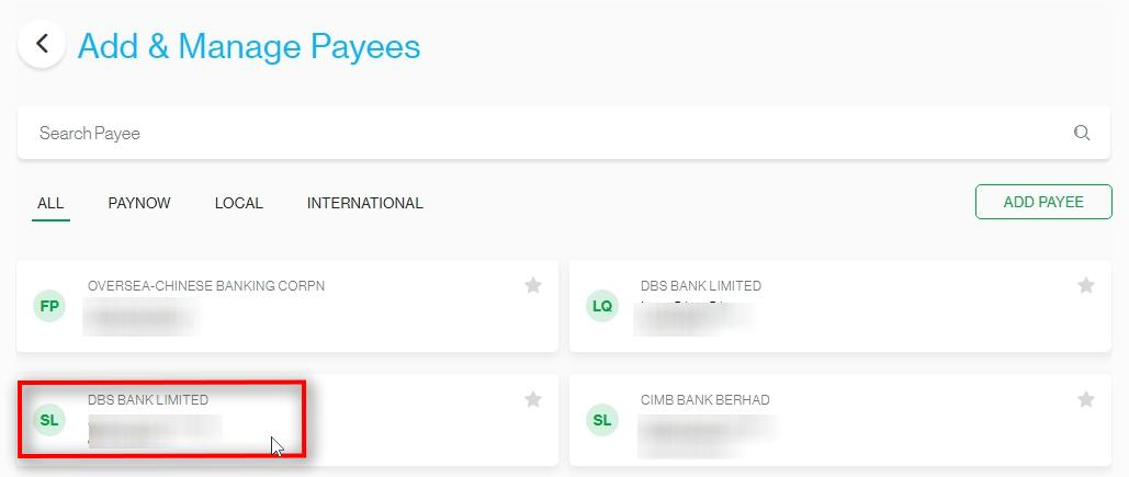 Select the Payee to be deleted
