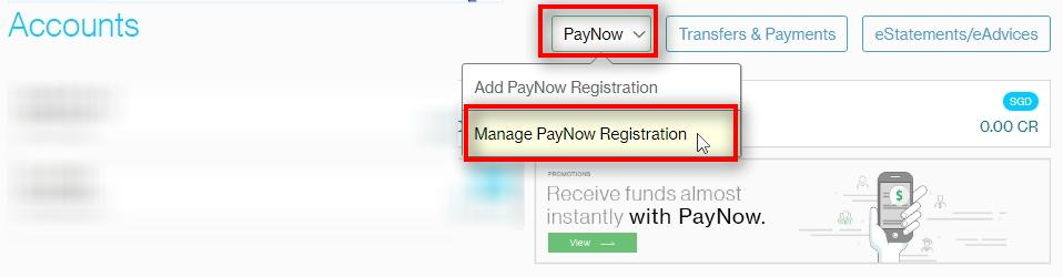 Manage PayNow Registration Go to PayNow Click on Manage PayNow Registration