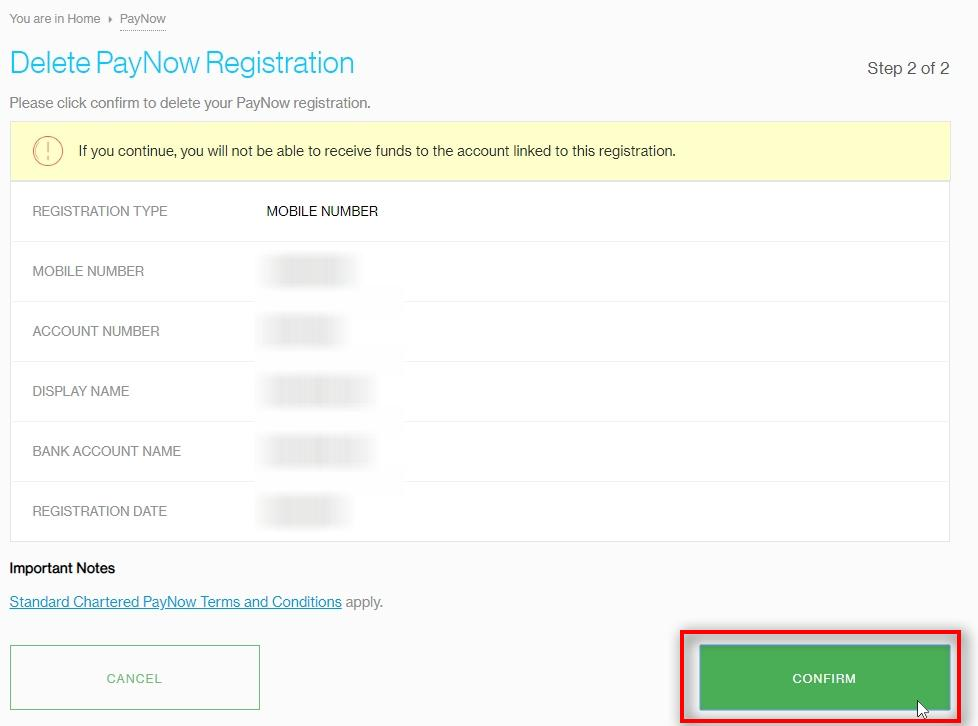 Delete PayNow Registration Click CONFIRM
