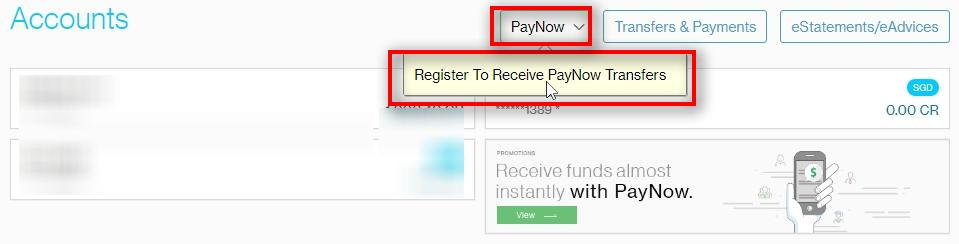 PayNow Go to PayNow Click on Register To Receive PayNow Transfers