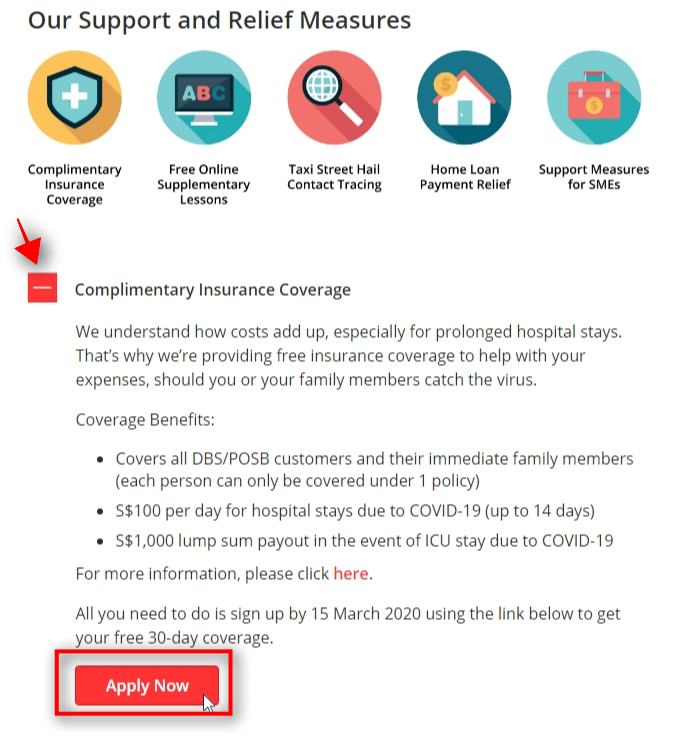 Expand Complimentary Insurance Coverage & Click Apply Now